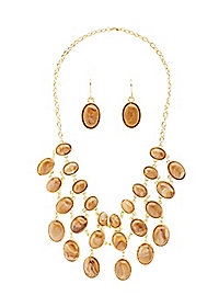 Gemstone Bib Necklace & Earrings - 2 Pack