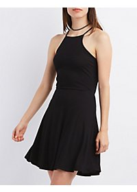 Bib Neck Tie-Back Skater Dress