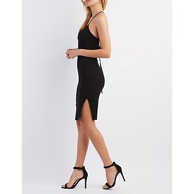 Ribbed Tie-Back Bodycon Dress