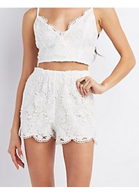 Floral Lace Scalloped Shorts