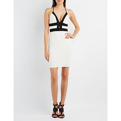 Caged Color Block Bodycon Dress