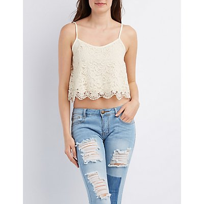 Floral Lace Scalloped Tank Top