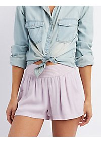 Textured Waist Gauze Shorts