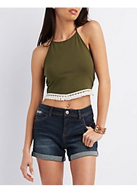 Fringed & Cropped Halter Top