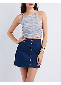 Marled Bib Neck Crop Top