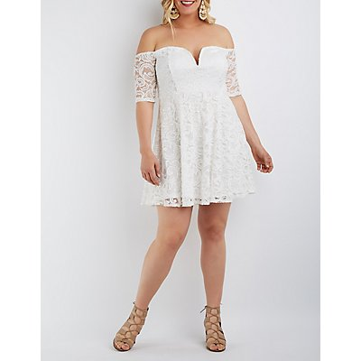 Plus Size Lace Off-the-Shoulder Skater Dress