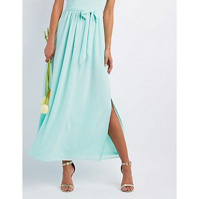 Bib Neck Tie Waist Maxi Dress