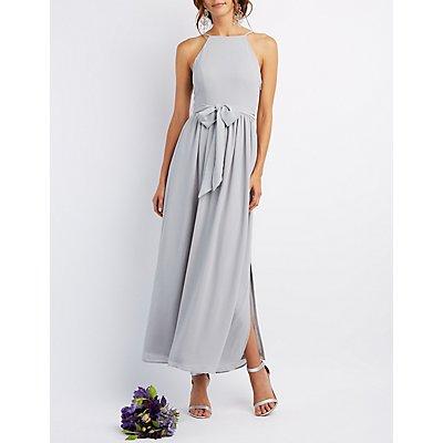 Bib Neck Tie Waist Maxi Dress