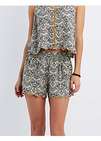 Scalloped Floral Print Shorts
