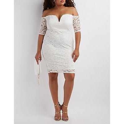 Plus Size Lace Off-the-Shoulder Bodycon Dress