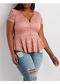Plus Size Floral Lace Peplum Top