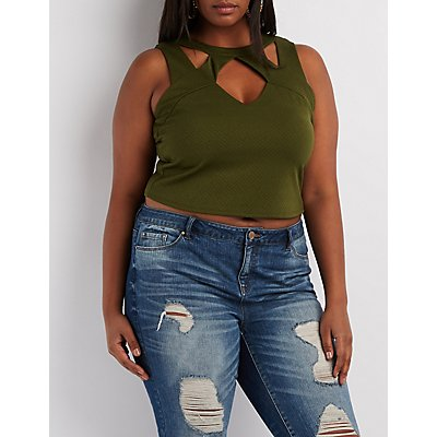 Plus Size Caged Cut-Out Tank Top