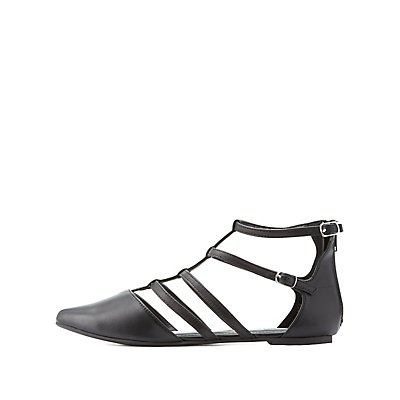 Caged Pointed Toe Flats