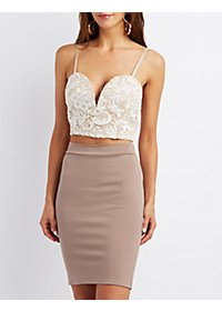 Floral Lace Plunge Crop Top