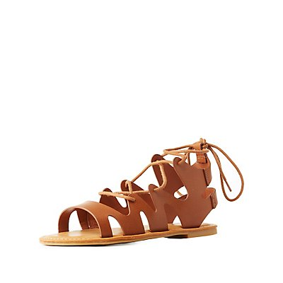 Bamboo Lace-Up Cut-Out Sandals