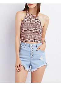 Printed Caged Cropped Tank