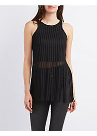 Mesh Fringe Crop Top