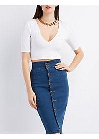 Plunging Back Zip Crop Top