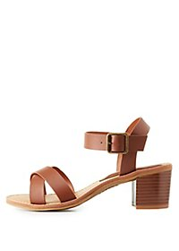 Bamboo Strappy Faux Leather Sandals