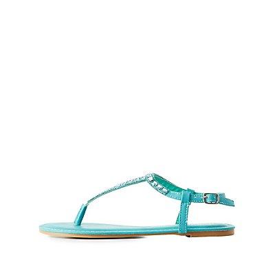 Embellished T-Strap Sandals