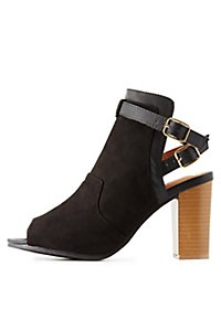 Qupid Peep Toe Buckle Booties