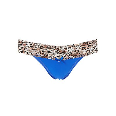 Leopard Print Lace-Trim Thong Panties