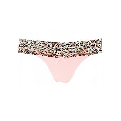 Leopard Print Lace-Trim Thong Panties