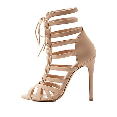 Strappy Lace-Up Dress Sandals