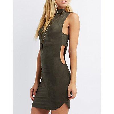 Faux Suede Bodycon Dress