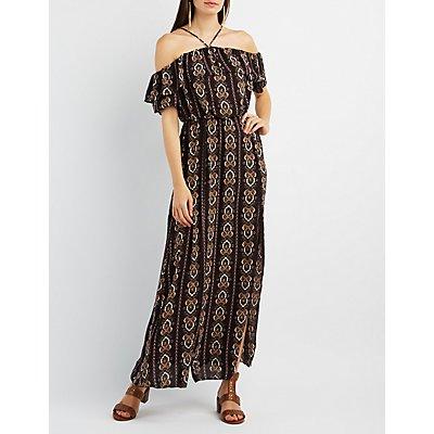 Off-the-Shoulder Slit Maxi Dress