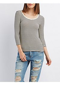 Striped Scoop Neck Tee