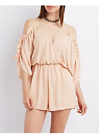 Ruffle-Trim Cold Shoulder Romper