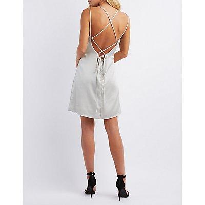 Tie-Back Satin Shift Dress