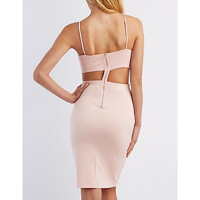 Lace-Trim Bib Neck Bodycon Dress