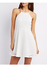 Texture Striped Skater Dress