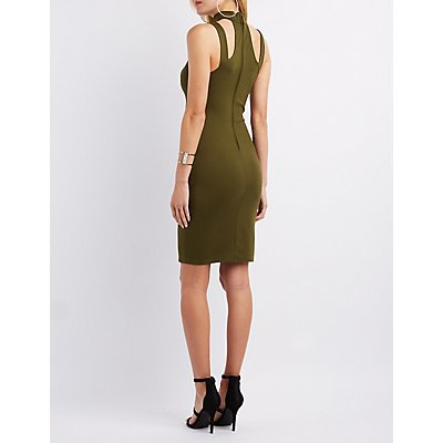Cut-Out Mock Neck Bodycon Dress