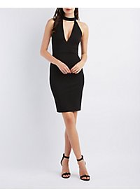 Cut-Out Plunge Bodycon Dress