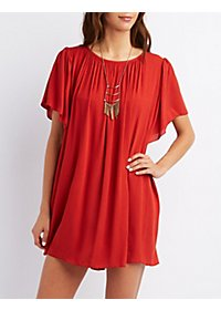 Flutter Sleeve Shift Dress