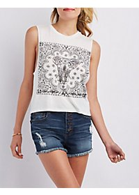 Sparkly Graphic Tank Top
