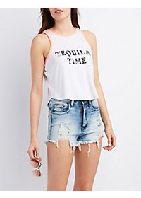 Graphic Ringer Crop Top