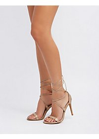 Lace-Up Metallic Sandals