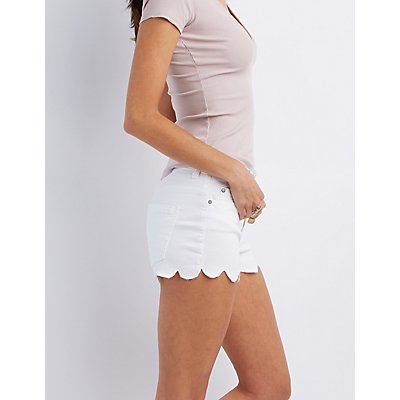 Scalloped Denim Shorts