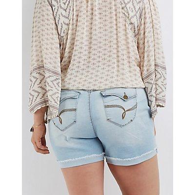 Plus Size Butt Lifter Girlfriend Denim Shorts