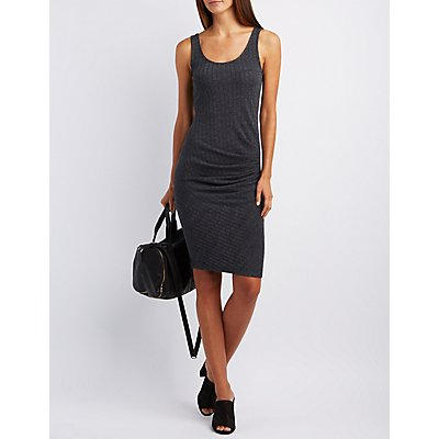 Ribbed & Ruched Midi Dress
