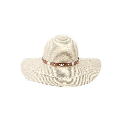 Banded Straw Floppy Hat