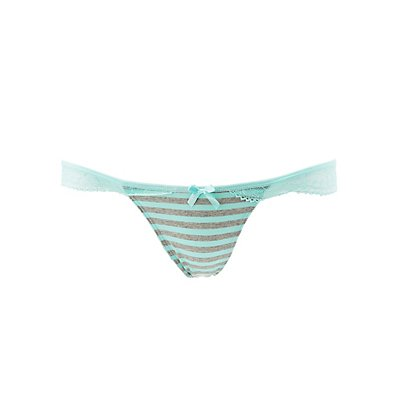 Striped Lace-Trim Thong Panties
