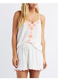 Scalloped Split-Back Tank Top