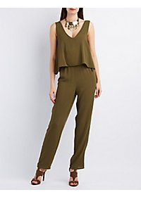 Sleeveless Layered V-Neck Jumpsuit