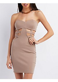 Strapless Cut-Out Bodycon Dress