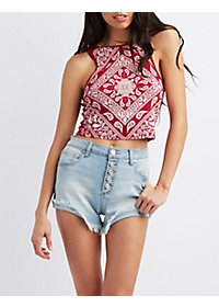 Sparkly Paisley Print Crop Top